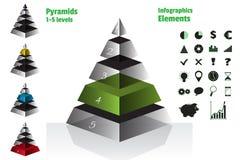 L'ensemble de vert de diagrammes symétriques isometry de pyramide, diagram 5 niveaux avec la texture en verre Infographics d'élém Image stock