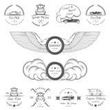 L'ensemble de vintage badges le club et le garage de voiture Image libre de droits