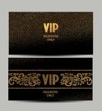 L'ensemble de vintage carde des cartes d'or et d'argent avec des éléments de conception florale Image stock