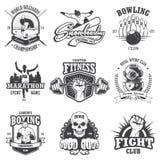 L'ensemble de vintage folâtre des emblèmes Photo stock