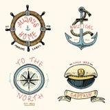 L'ensemble de vintage gravé, tiré par la main, vieux, de labels ou d'insignes pour l'ancre, volant, captains le chapeau, boussole Photo libre de droits