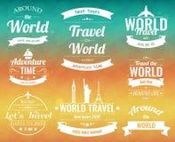 L'ensemble de voyage de vintage badges et des labels Icônes d'éléments de vacances Voyage et tourisme Vecteur Photographie stock