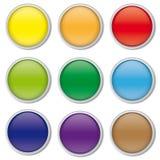 L'ensemble de Web rond brillant se boutonne avec la frontière de chrome, Photographie stock