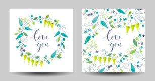 L'ensemble des deux fleurs et les herbes dirigent des cartes Image libre de droits