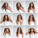 L'ensemble des images de femme dégoûtée et mécontente photographie stock libre de droits