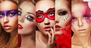 L'ensemble des visages des femmes avec lumineux composent Images stock