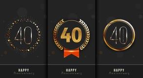L'ensemble du quarantième anniversaire heureux carde le calibre Photo stock