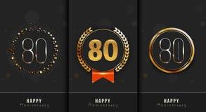 L'ensemble du quatre-vingtième anniversaire heureux carde le calibre Photographie stock