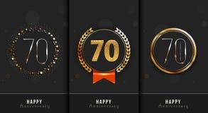 L'ensemble du soixante-dixième anniversaire heureux carde le calibre Photographie stock