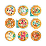 L'ensemble entier chaud de pizza, pizza fraîchement cuite au four avec de divers ingrédients dirigent l'illustration sur un fond  illustration stock