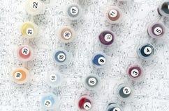 L'ensemble et la toile de couleur de peinture de nombre sont prêts à employer Image stock