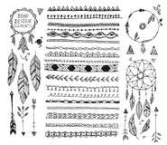 L'ensemble floral de décor de vecteur, collection de diviseurs tirés par la main de style de boho de griffonnage, frontières, flè Photographie stock libre de droits