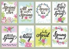 L'ensemble floral de vecteur de carte de voeux de printemps avec le ressort cite illustration libre de droits
