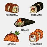 L'ensemble graphique de sushi incluent l'icône de saké, d'ebi, d'ikura et de tamago Photographie stock