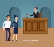 L'ensemble horizontal de bannière de loi avec des éléments de système judiciaire a isolé l'illustration de vecteur Photos libres de droits