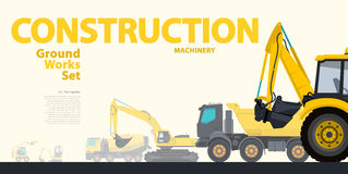 L'ensemble jaune de typographie de la terre fonctionne des véhicules de machines Excavatrice - matériel de construction illustration stock