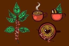 L'ensemble marque la tasse de café aromatique, usine de café logo Tiré par la main Photos stock