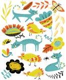 L'ensemble mignon avec le chat et chiken Collection florale d'été avec la ferme Illustration Stock