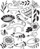 L'ensemble mignon avec le chat et chiken Collection florale d'été avec la ferme Illustration de Vecteur