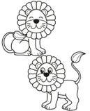 L'ensemble mignon de lion de bande dessinée, dirigent les illustrations noires et blanches pour la coloration ou la créativité de illustration stock