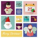 L'ensemble plat d'icône de nouvelle année de 10 éléments de Noël pièce cinq Images stock
