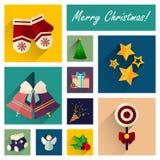 L'ensemble plat d'icône de nouvelle année de 10 éléments de Noël pièce deux Image stock