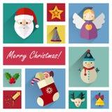 L'ensemble plat d'icône de nouvelle année de 10 éléments de Noël pièce trois Photographie stock libre de droits