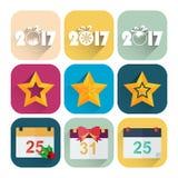 L'ensemble plat d'icône de nouvelle année de calendrier, l'étoile et la nouvelle année datent Photos libres de droits