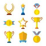 L'ensemble plat d'icônes de trophée de médaille de gagnant de récompense de succès de médaillon a isolé l'illustration de vecteur illustration libre de droits
