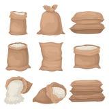 L'ensemble plat de vectoe de toile de jute renvoie avec du riz ou la farine Grands sacs de textile Produit agricole Éléments pour illustration de vecteur