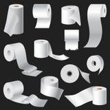L'ensemble réaliste de maquette de calibre de petit pain de papier hygiénique et de serviette de cuisine a isolé l'emballage 3d b Photographie stock