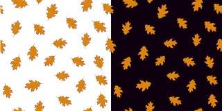 L'ensemble sans couture de modèle avec l'orange part sur le fond blanc et noir Photographie stock libre de droits