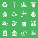 L'ensemble simple d'Eco a rapporté la ligne icônes de vecteur Images stock