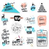 L'ensemble style de Noël et de nouvelle année de vintage badges et des labels Photos stock