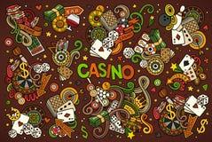 L'ensemble tiré par la main de bande dessinée de griffonnages de vecteur coloré de casino objecte Image stock