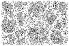 L'ensemble tiré par la main de bande dessinée de griffonnages de vecteur peu précis de casino objecte Images stock