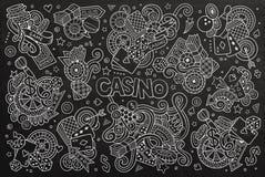 L'ensemble tiré par la main de bande dessinée de griffonnages de vecteur peu précis de casino objecte Photo stock
