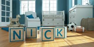 L'entaille de nom écrite avec les cubes en bois en jouet chez la pièce du ` s des enfants image libre de droits