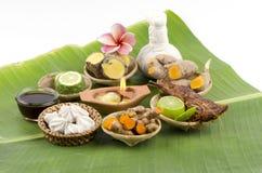 L'ente di erbe della Tailandia sfrega per il trattamento della pelle e per salute e rilassamento. fotografia stock