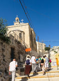 L'entrée à la tombe de Lazarre a ressuscité par Jésus Image stock