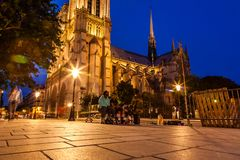 L'entrée avant de la cathédrale de Notre Dame Images stock