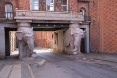 l'entrée de émiettage d'éléphant de bundi a enrichi le palais Ràjasthàn de l'Inde de porte royal à Photographie stock libre de droits