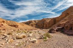 L'entrée de l'attraction géologique de canyon rouge en Israël photographie stock libre de droits