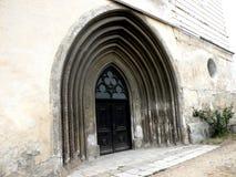 L'entrée en Bartolomeu a enrichi l'église, Saxon, Roumanie, Transilvania Photographie stock libre de droits
