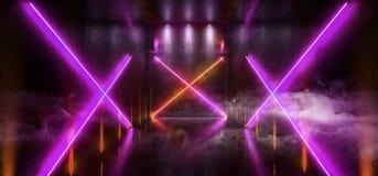 L'entrée futuriste de porte de laser Hall Neon Tunnel Path Track de Sci fi de fumée met en lumière les couleurs vibrantes rougeoy illustration libre de droits