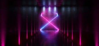 L'entrée futuriste de porte de laser Hall Neon Tunnel Path Track de Sci fi met en lumière des couleurs vibrantes bleues pourpres  illustration libre de droits