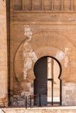 L'entrée principale au palais d'Aljaferia, construit au 11ème siècle à Saragosse, l'Espagne Copiez l'espace pour le texte vertica Image stock