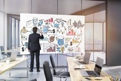 L'entraîneur d'affaires dessine une affiche de motivation dans le bureau, modifié la tonalité Image libre de droits