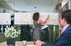 L'entraîneur féminin expliquant la gestion des projets étudie au-dessus du mur de verre image stock