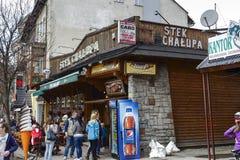 L'entrata al ristorante di Stek Chalupa Fotografia Stock Libera da Diritti